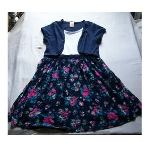 Girls' Faded Glory Navy Floral Lined Lace Dress
